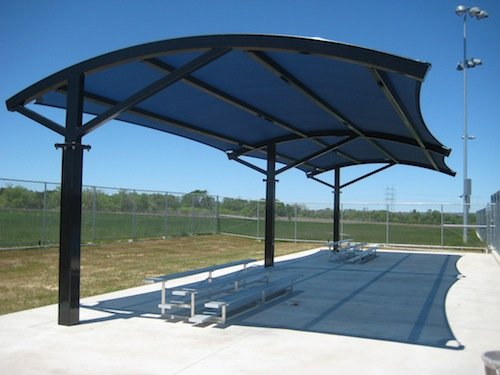 Shade canopies tension membranes for Metal sun shade structures
