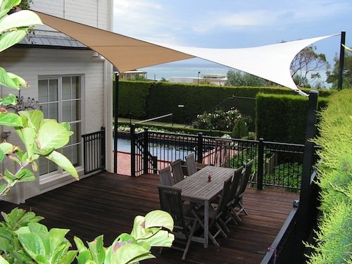 Backyard shade sails